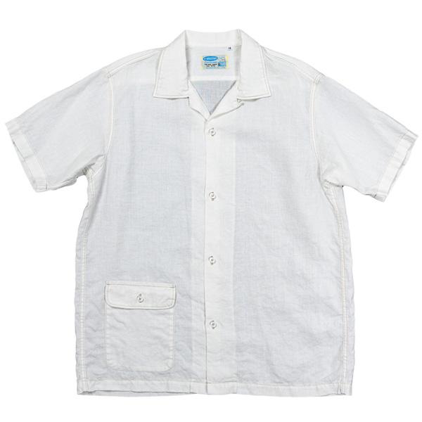 Open Collar Shirt White Linen