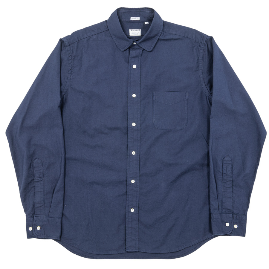 Narrow Round Collar Shirt Navy