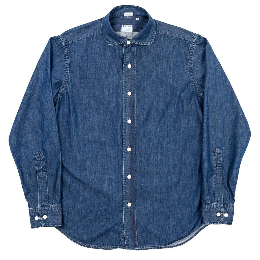 Round Cutaway Shirt Denim Washed