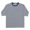 6oz Border Tee Half Ecru-Navy