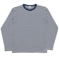 Border Tee Long Ecru-Navy