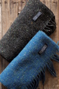 FOXFORD Wool×Cashmere Scarf Charcoal Black/Blue-1