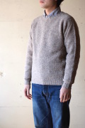 Harley of Scotland Shetland Sweater Crew Neck Mushroom-1