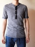 HOMESPUN Mock Twist Jersey S/S Henry TEE, Dark Gray