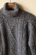 John Cooper Knitwear, Kearney Aran Cable, Roll Neck, Grey Tweed-1