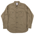 Metal Button Work Shirt Beige Twill