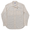 Metal Button Work Shirt White Chambray