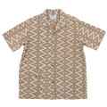 Open Collar Shirt Block Print Beige