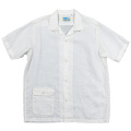 Open Collar Shirt White Linen