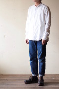 WORKERS Band Collar Shirt White Chambray-1