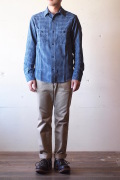 WORKERS Basic Work Shirt 3.5oz Indigo Check-1