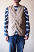 WORKERS Cruiser Vest Cotton×Linen Twill Beige-1