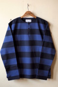 WORKERS Henry Neck Border Long Sleeve Navy×Black-1