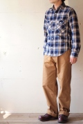 WORKERS K&TH Flannel Shirt, Blu-Main1