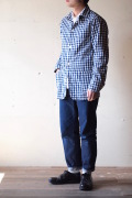 WORKERS Light Railroad JKT Medium Weight Chambray, Blue Gingham-1