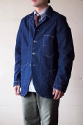 WORKERS Lot.200 Sack Coat Cotton×Linen Denim White Stitch-1