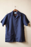 WORKERS Open Collar Shirt Navy Linen-1