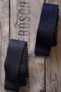 WORKERS Silk Knit Tie Charcoal Grey, Dark Navy-1