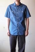 WORKERS S/S Work Shirt, Blue Chambray-1