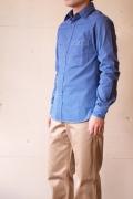 WORKERS K&TH USN Work Shirt Blue Herringbone-1
