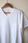 WORKERS V Neck Pocket Tee White-1
