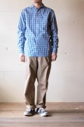 WORKERS Widespread Collar Shirt, Blue Gingham-1