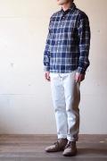 WORKERS Widespread Collar Shirt Indigo Flannel-1