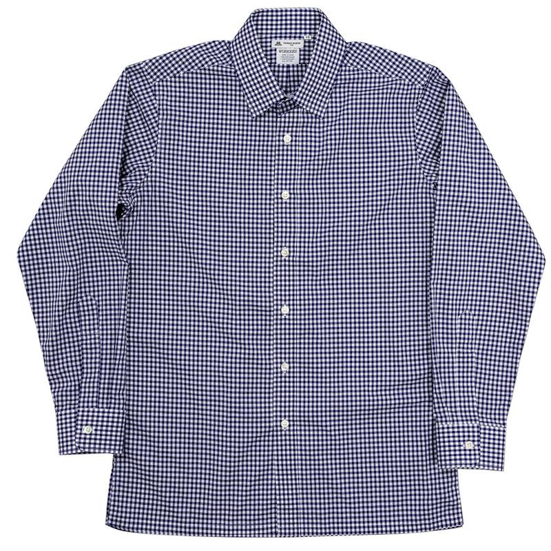 Vendome Shirt Blue Plaid Poplin Thomas Mason