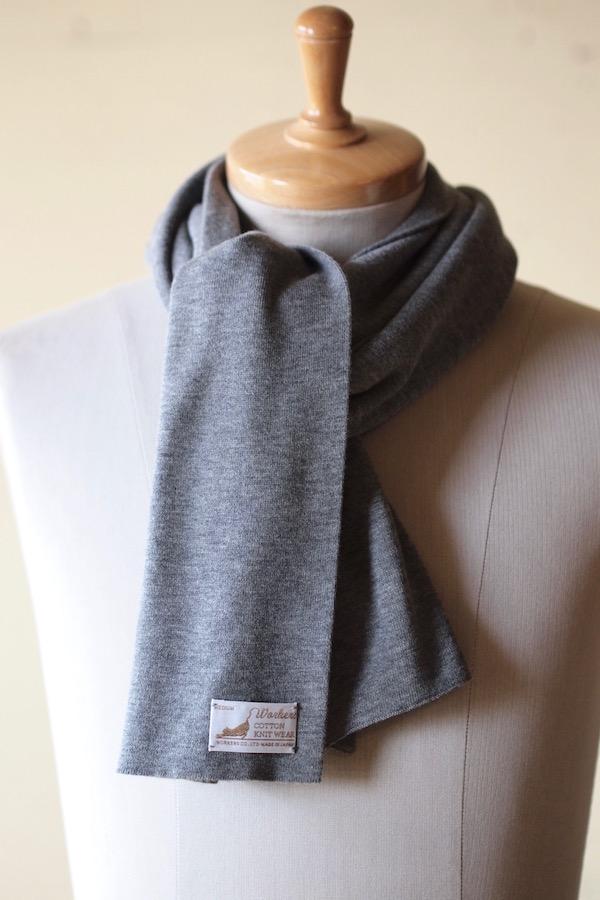 WORKERS Cotton Knit Muffler Heather Grey-1
