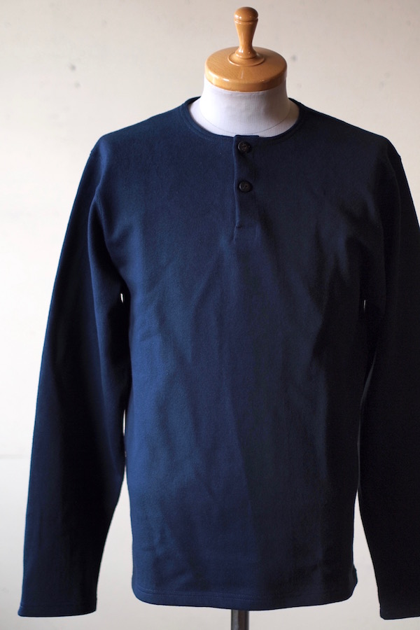 WORKERS Henry Neck Cotton Sweater Navy-1
