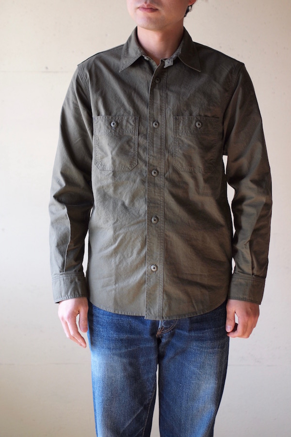 WORKERS Metal Button Work Shirt 5oz Olive Chambray-1