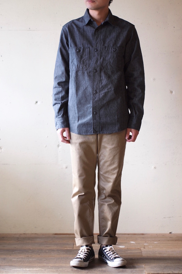 WORKERS Metal Button Work Shirt 5.5oz Black Covert-1