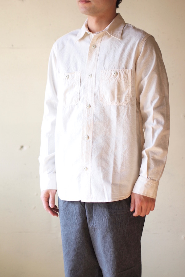 WORKERS Metal Button Work Shirt 5.5oz White Chambray-1