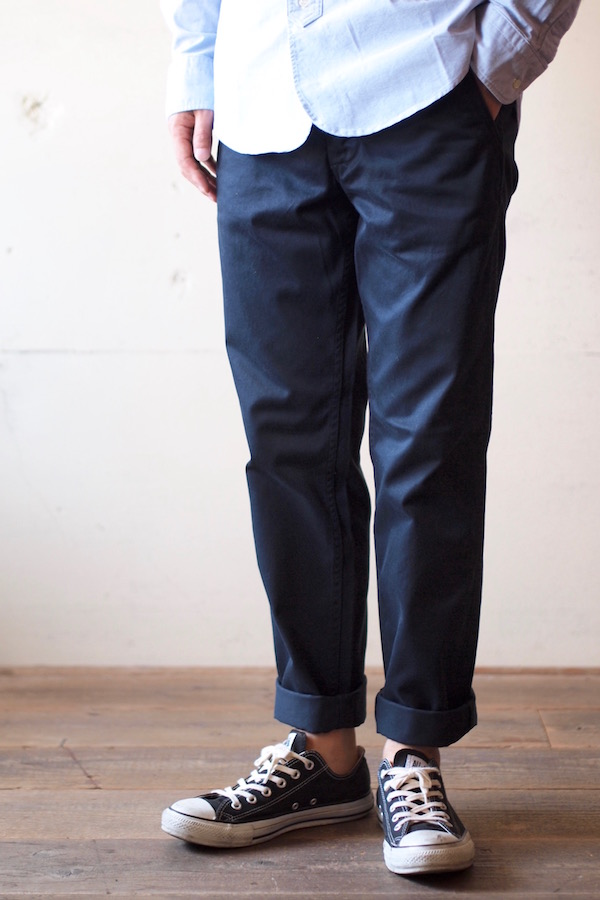 Workers Officer Trousers Slim Type-2 Navy Chino-1