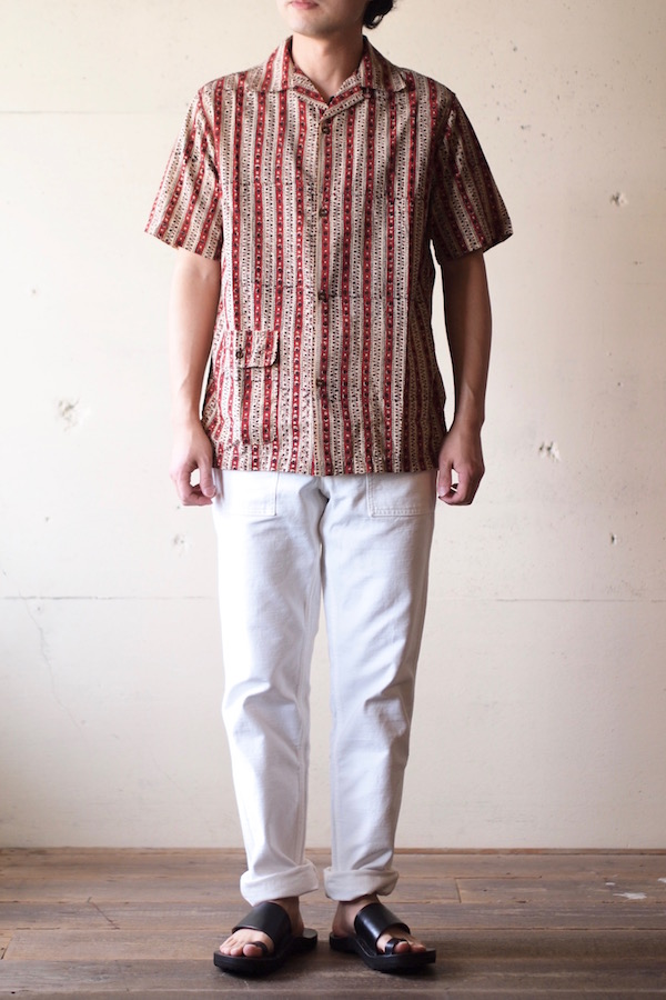 WORKERS Open Collar Shirt Block Print-1