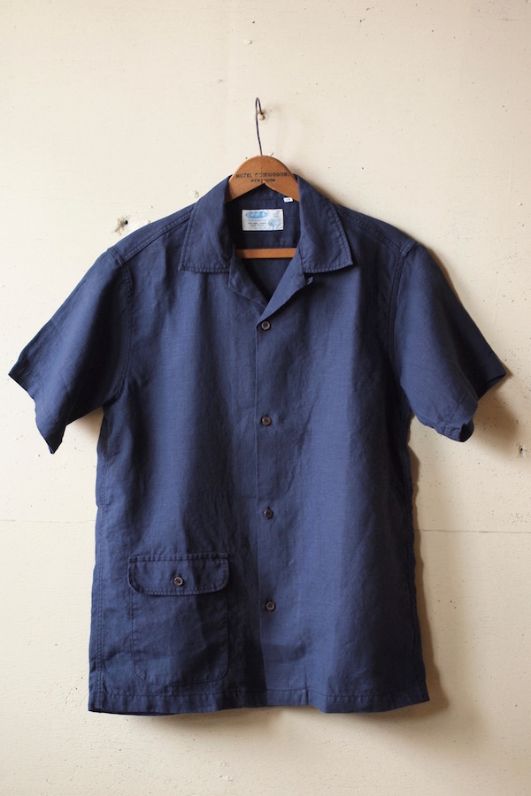WORKERS Open Collar Shirt Navy Linen-1