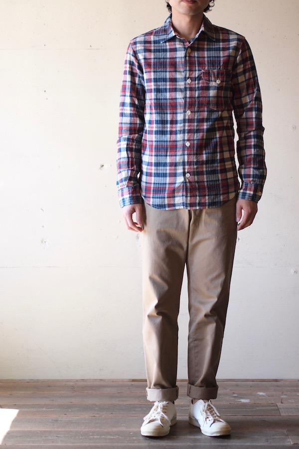 WORKERS Work Shirt 3oz India Madras Red-1