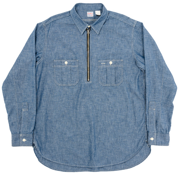 Zip Work Shirt Blue Chambray