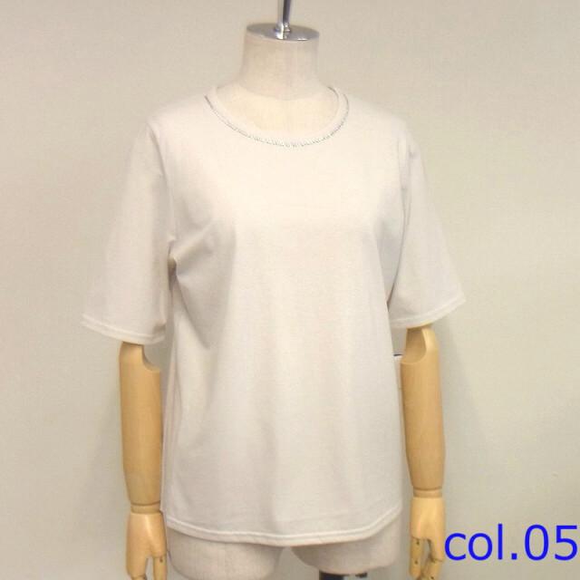 スワロフスキー付き丸首半袖Tシャツ【M、L2サイズ展開】【12162】