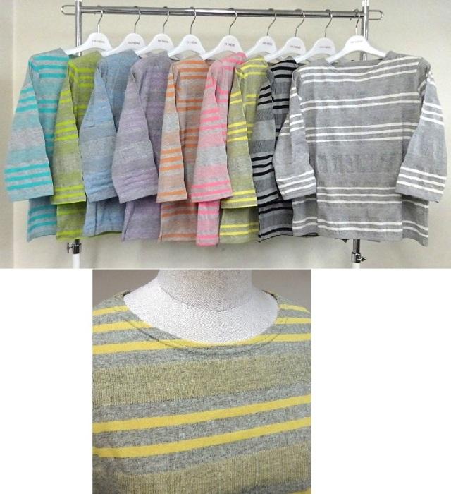 【LLサイズ】変形ボーダーTシャツ7分袖【52093C】