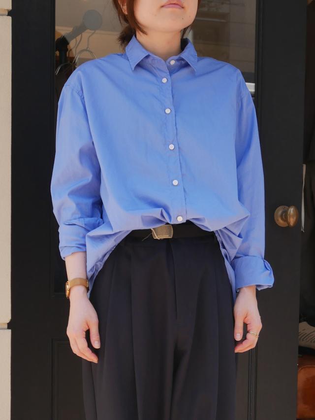 【Unpeu Femme】オリジナルステッチを効かせた ドレッシー・ブロード素材 ボーイズサイズシャツ