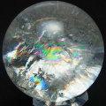 レインボー水晶 丸玉 虹入り 天然水晶 スフィア 置物 インテリア オンビル 天然石 アップストーン