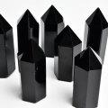 黒水晶 モリオン ポイント 六角柱 原石 置物 魔除け お守り 風水 天然石 パワーストーン