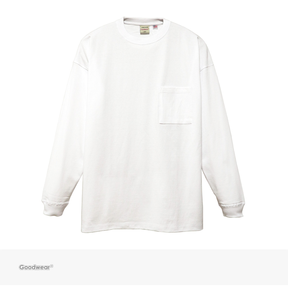 Goodwear USA COTTON SUPER BIG POCKET L/S TEE | WHITE / グッドウェア Tシャツ