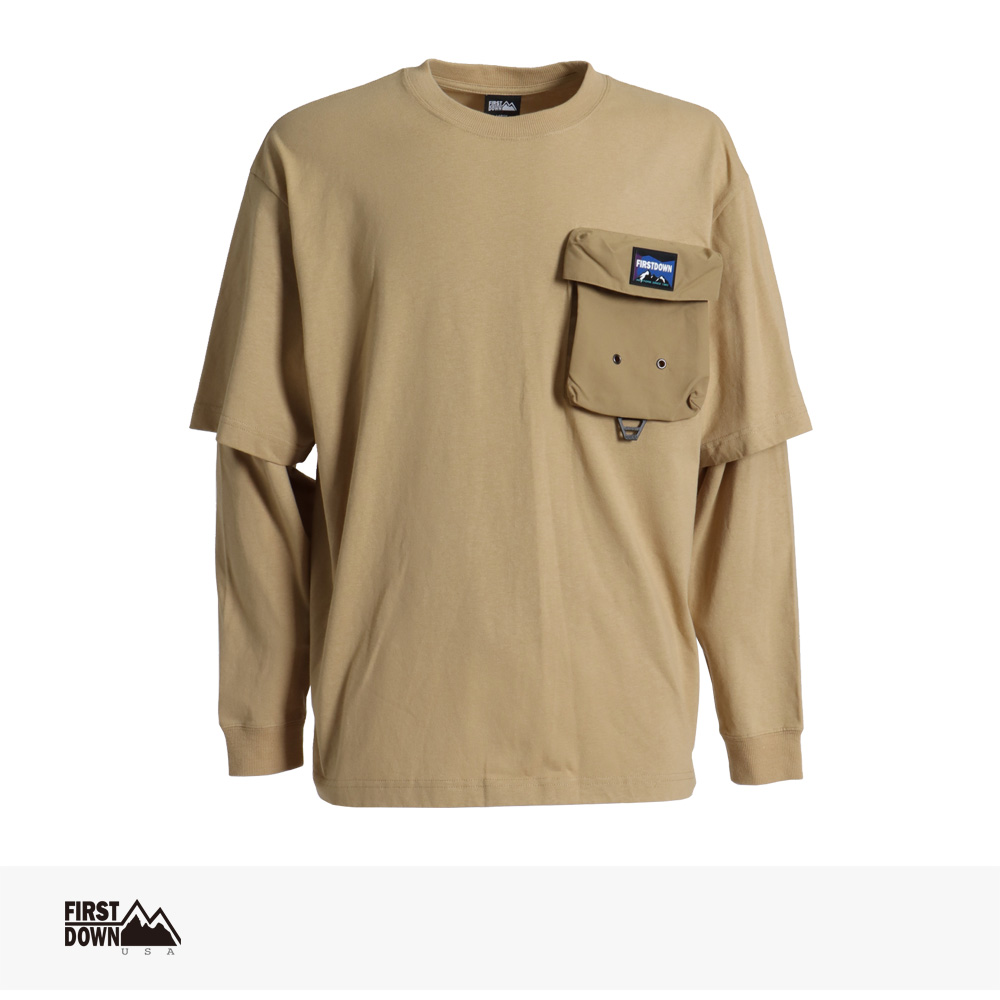 2021 SPRING FIRST DOWN USA LAYERED L/S T / ファーストダウン Tシャツ