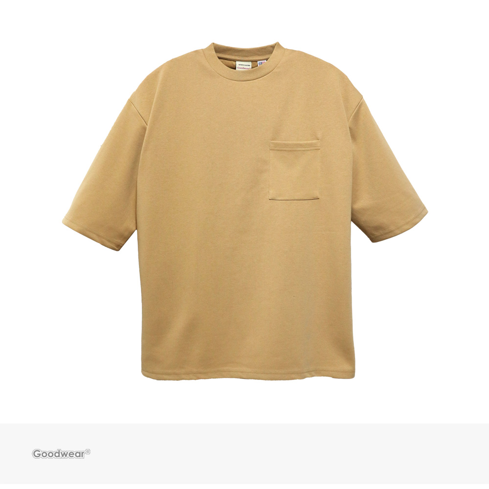 Goodwear USA COTTON 吸水速乾 5分袖 BIG POCKET TEE | BEIGE / グッドウェア Tシャツ