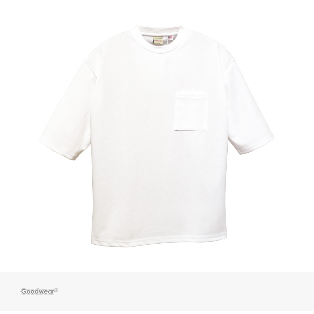Goodwear USA COTTON 吸水速乾 5分袖 BIG POCKET TEE | WHITE / グッドウェア Tシャツ