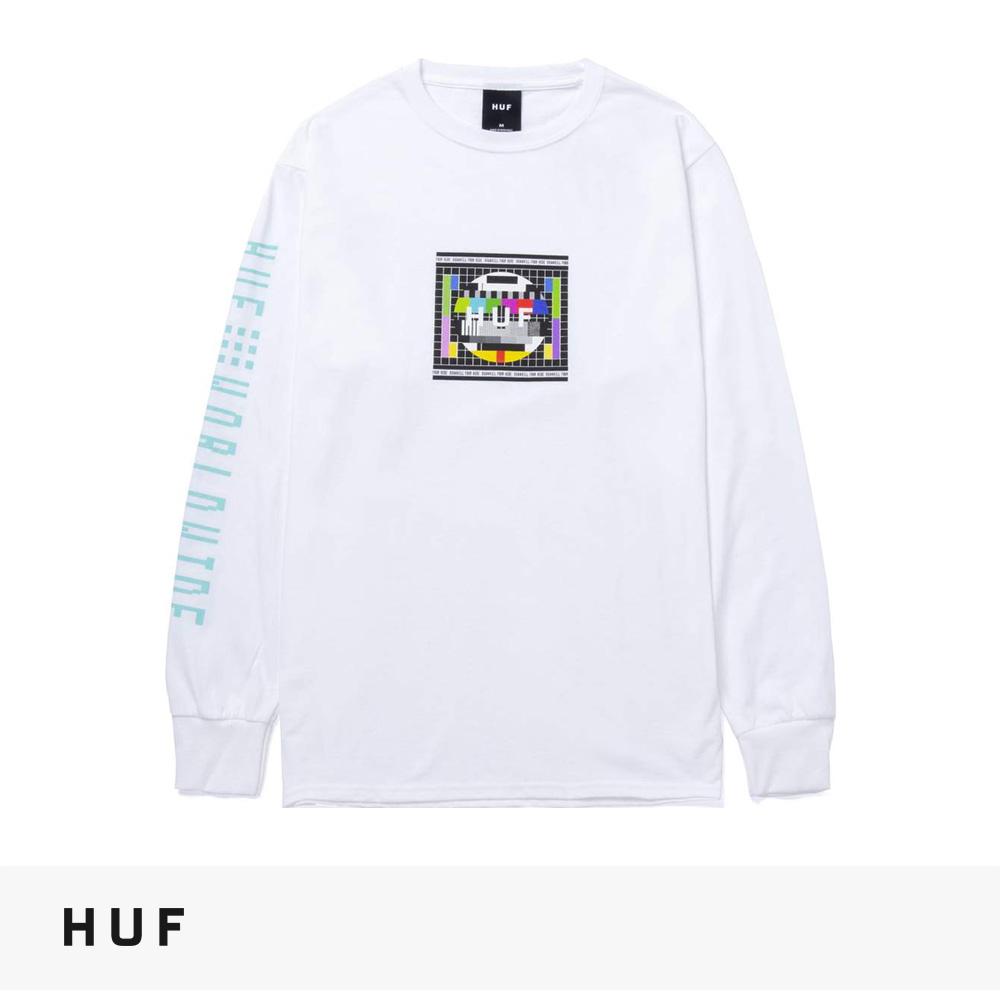 2021 FALL HUF TEST SCREEN L/S TEE   WHITE / ハフ Tシャツ