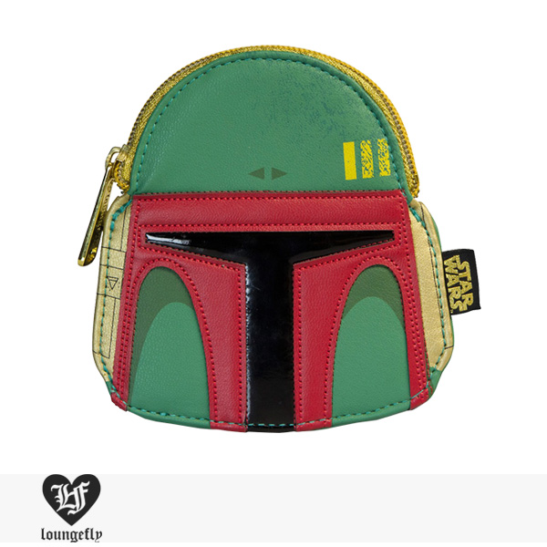LOUNGEFLY × STAR WARS BOBA FETT GREEN/RED FAUX LEATHER FACE COIN BAG / ラウンジフライ コインケース