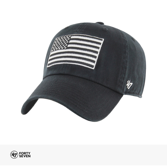 47BRAND USA FLAG HERITAGE FRONT BLACK&WHITE '47 CLEAN UP | BLACK / フォーティーセブンブランド キャップ